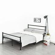 cheerwing black twinfull size metal bed frame platform headboard steel foundation bedroom - Black Metal Bed Frame
