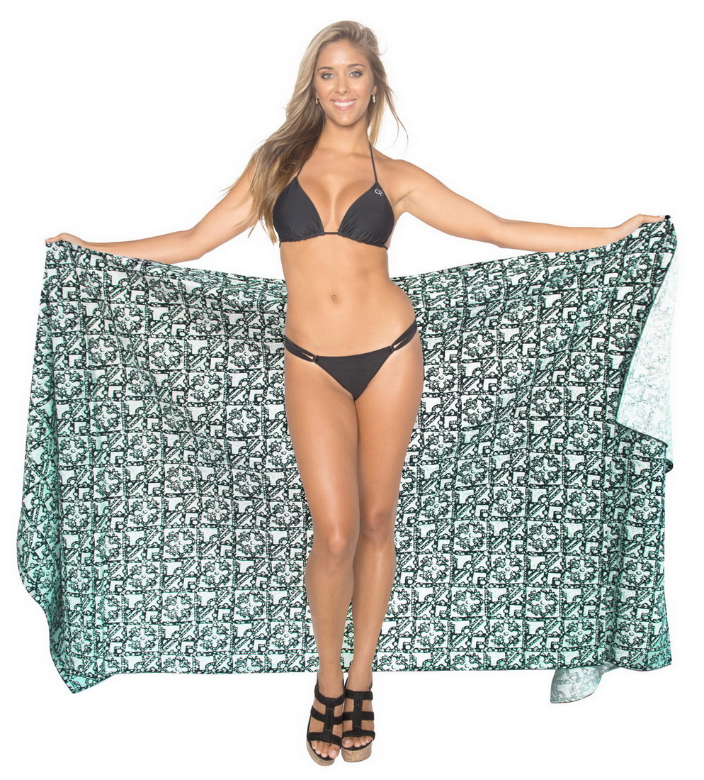 La Leela Allover Print Hand Batik 100% Cotton Beach Sarong Wrap 78x39 INCH Green