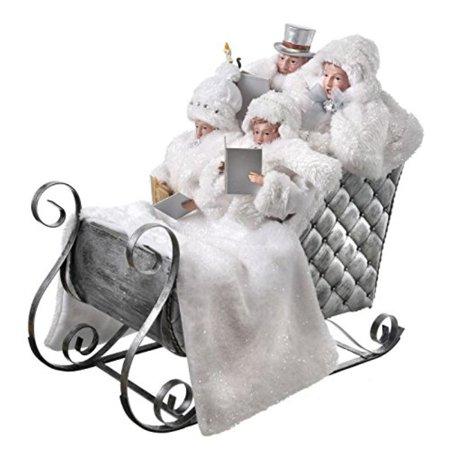 "Regency International 19"" Carolers in Sleigh Victorian Frost White Christmas Figure"