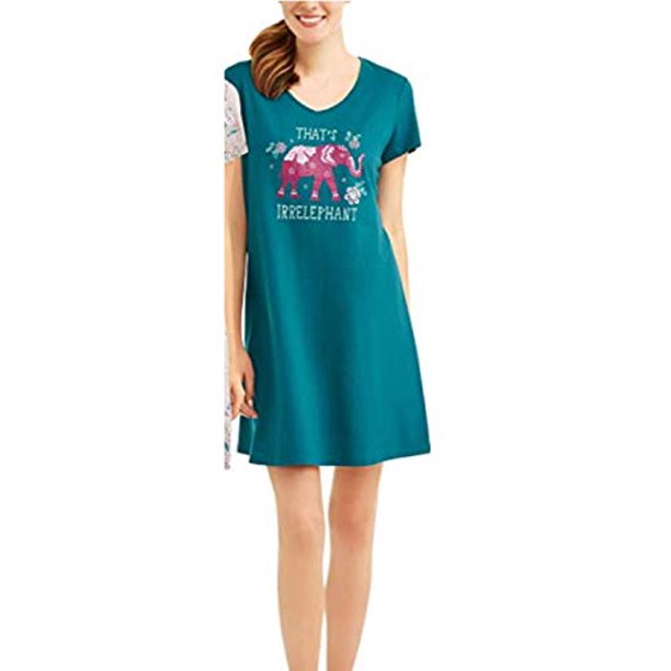 Womens Pluss Sleep Gown Pajamas Nightgown (That's Elephant, (2XL 20w-24w))