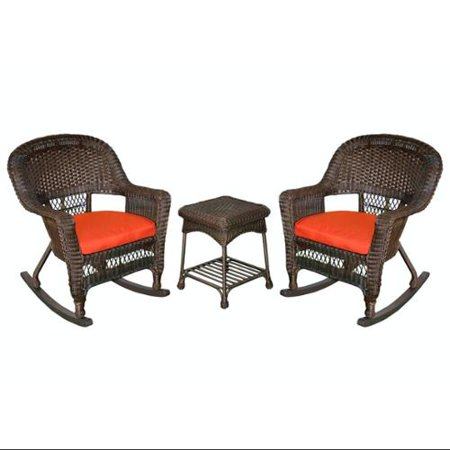 3 Piece Espresso Wicker Patio Rocker Chairs Table Furniture Set Red Cushions