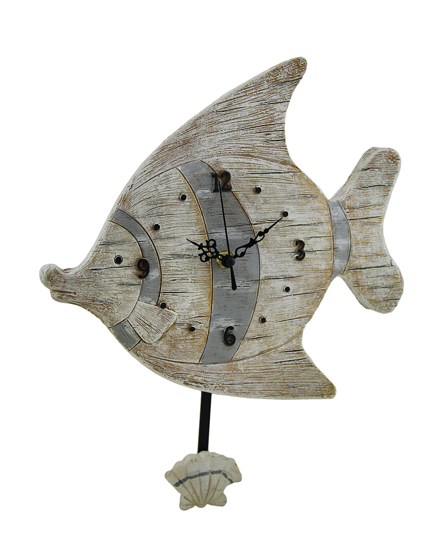 Distressed wood finish fish shaped pendulum wall clock walmart amipublicfo Images