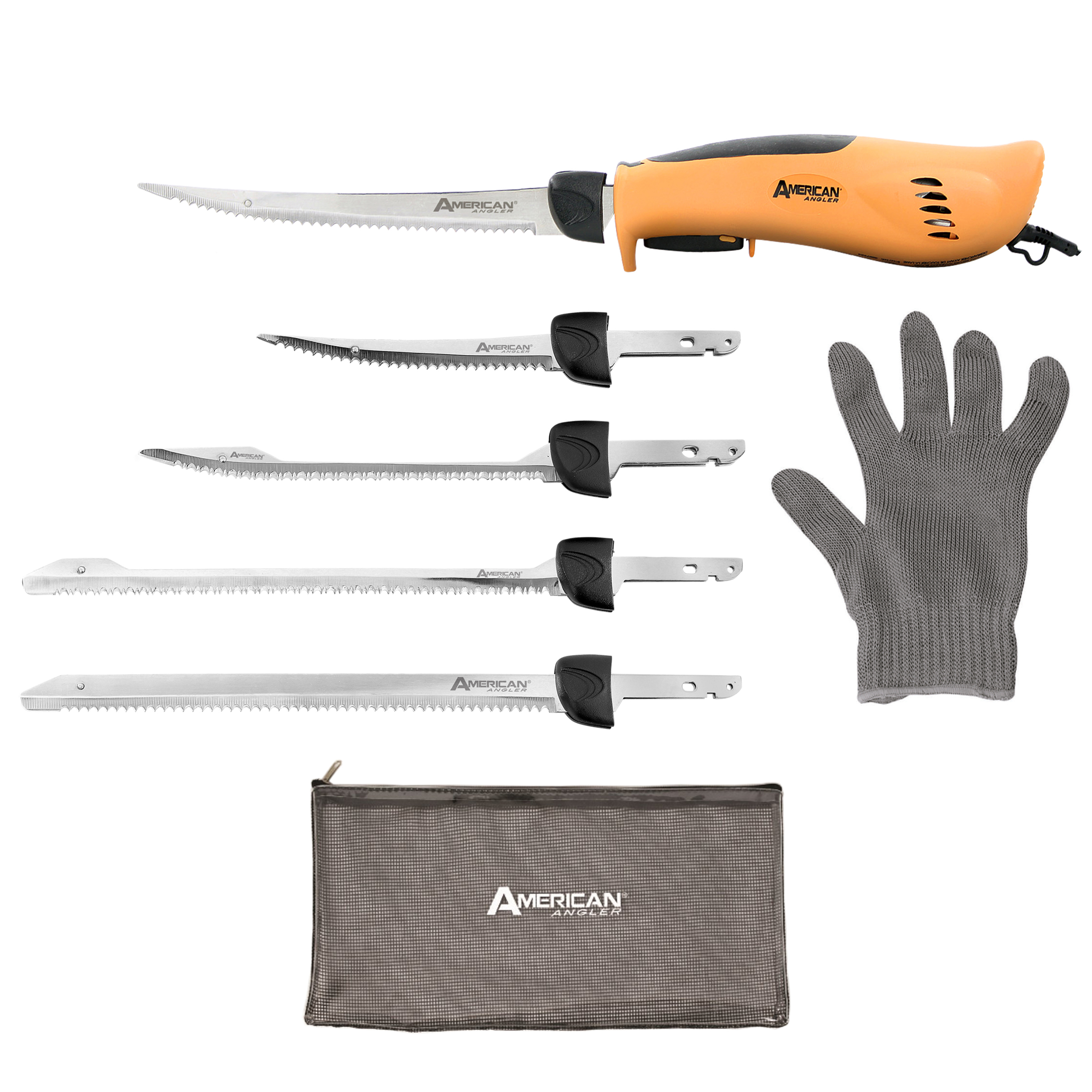 American Angler PRO Electric Fillet Knife Sportsmen's Kit � Five Blades, AEK-OB-DS-008-1 by Ginsu Brands a Scott Fetzer company
