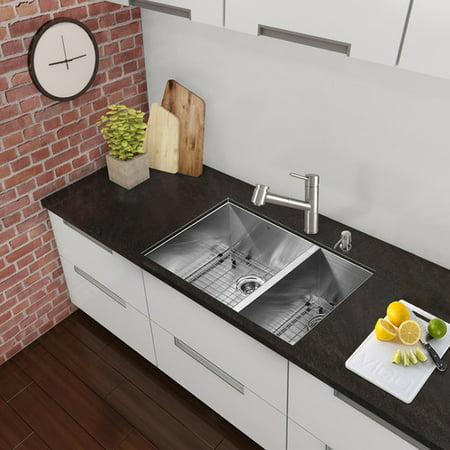 Vigo Alma 29 inch Undermount 75/25 Double Bowl 16 Gauge Stainless Steel Kitchen Sink ()