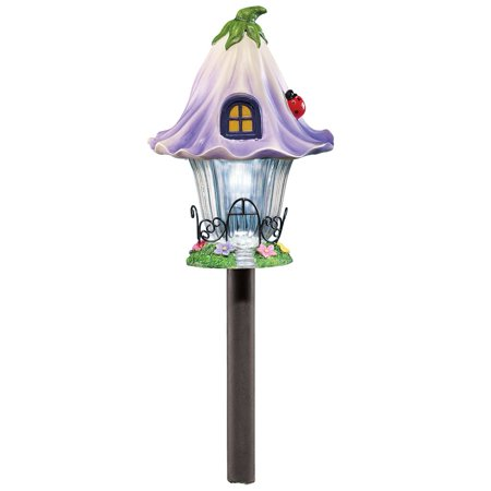 Purple Garden (Solar Fairy Cottage House Stake for Garden, Backyard, Landscaping, and Pathway, Purple)