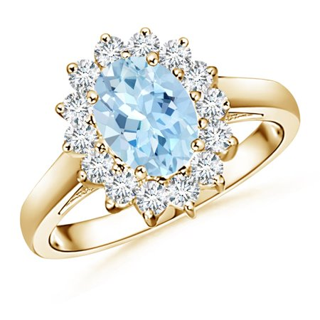 March Birthstone Ring - Princess Diana Inspired Aquamarine Ring with Diamond Halo in 14K Yellow Gold (8x6mm Aquamarine) - SR0169AQ-YG-AAA-8x6-9