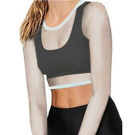 a1d438a86d50 ELENXS - Women Female Sexy Sheer See-Through Gauze Crop Tops White  Transparent Temptation Erotic T-shirt - Walmart.com