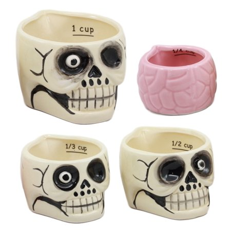 Zombie Halloween Food Ideas (Ebros Ceramic One Eyed Pirate Zombie Skulls And Human Brain Stackable Measuring Cups Set of 4 Baking & Cooking Kitchen Essentials Figurines Haunted Spooky Halloween)
