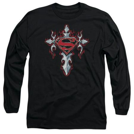 Superman Gothic Steel Logo Mens Long Sleeve Shirt (Men Gothic)