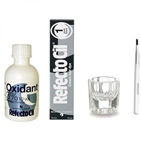 REFECTOCIL COLOR KIT- Pure Black Cream Hair Dye+ Liquid Oxidant 3% 1.7oz + Mixing Brush + Mixing Dish