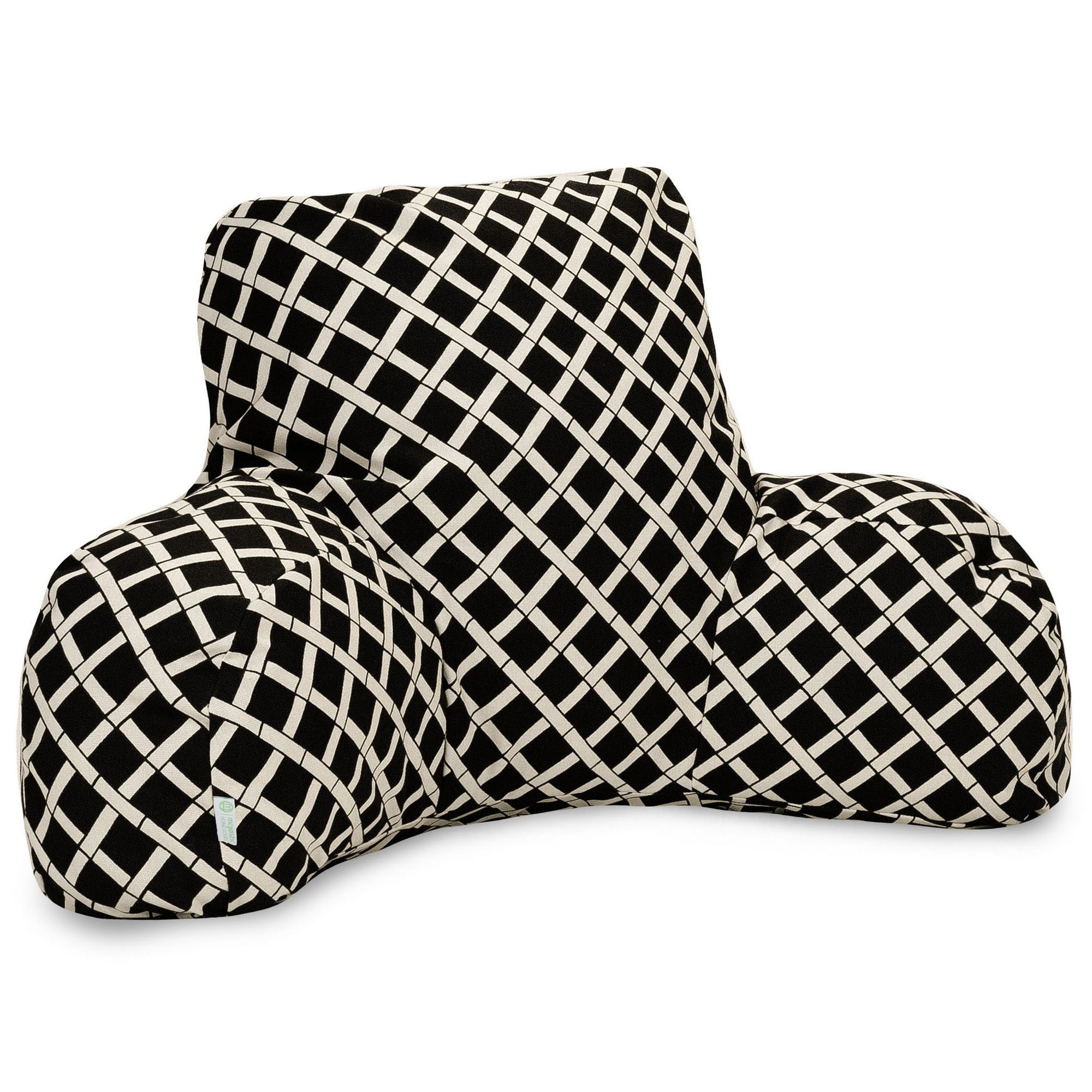 Majestic Home Goods Indoor Outdoor Black Bamboo Reading Pillow with Arms Backrest Back Support for Sitting 33 in L x 6 in W x 18 in H
