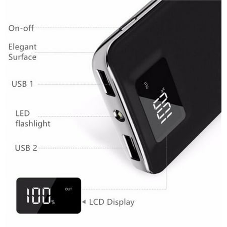 20,000mAh HIgh Speed Digital Power Bank FAST CHARGER Portable Ultra High Capacity 3.4A 2-Port USB +Led Flashlight External Battery Backup, For All Cell / Smart Phone Tablet Laptop Iphone Galaxy & (The Best Portable Iphone Charger)