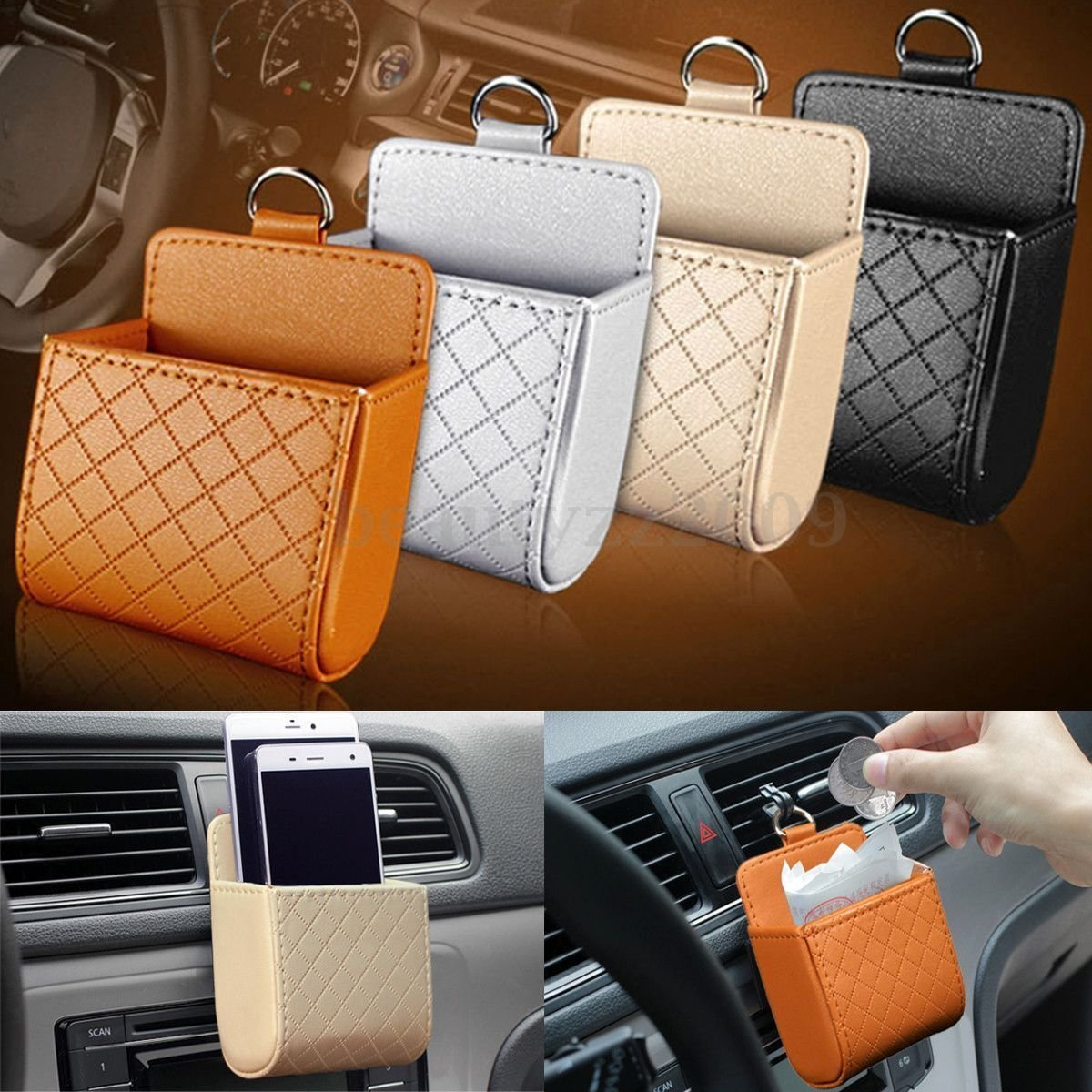 Black Yosoo Car Auto Seat Back Interior Air Vent Cell Phone Organizer Holder Bag Pouch Box Tidy Storage Coin Bag Case with Hook