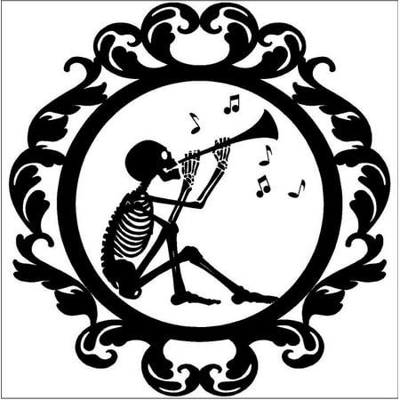 Halloween Frame #16 Skeleton Playing Music portrait vinyl lettering decal home decor wall art sticker (Medium 16x16.5) (Halloween Vinyl Lettering)