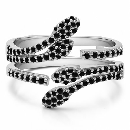 Double Leaf Pave Set Wedding Ring Guard in Sterling Silver (0.43ctw)