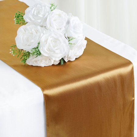 Satin Table Runner Wedding Party Banquet Gold 12 x 108 ()