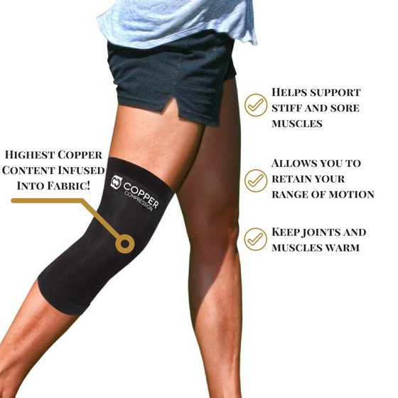 e02d89a983 Copper Compression Recovery Knee Sleeve - GUARANTEED Highest Copper Content  With Infused Fit. #1 Copper Knee Brace / Knee Compression Sleeve For Men  and ...