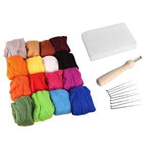 Farmunion Needle Felting Starter Kit Set Gifts 16 Colors Wool Felt Needles Felt Tool Set