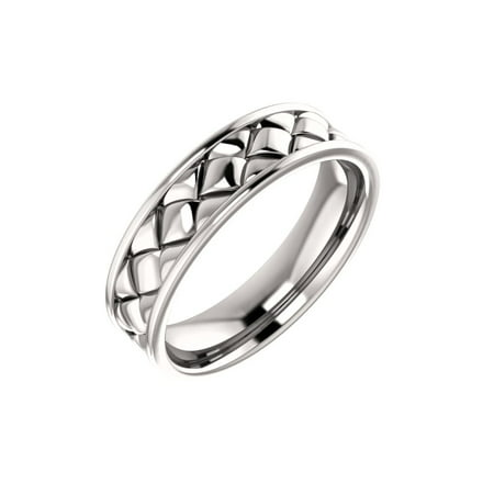 Jewels By Lux 14K White Gold Woven Design Wedding Ring Band Size 10 Woven Design Ring
