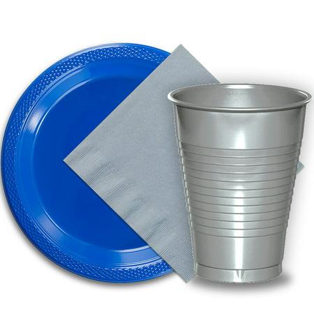 50 Dark Blue Plastic Plates (9