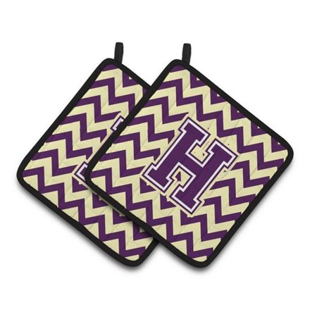 Carolines Treasures CJ1058-HPTHD Letter H Chevron Purple & Gold Pair of Pot Holders, 7.5 x 3 x 7.5 in. - image 1 of 1