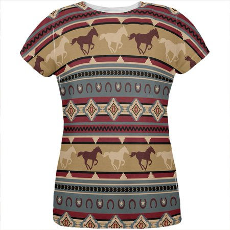 Southwestern Wild Horses Pattern All Over Womens T Shirt ()