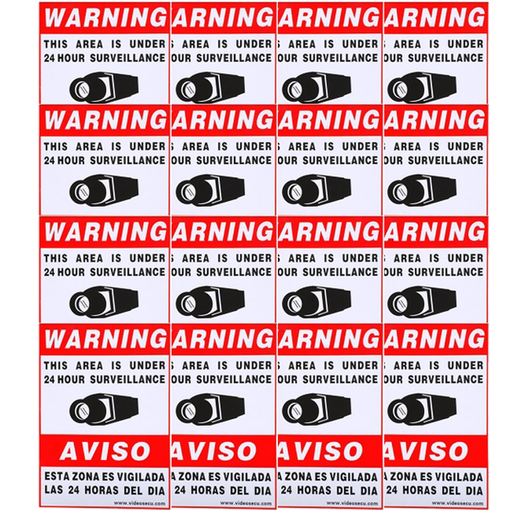 VideoSecu 16x Security Camera Video Sign Decal Warning Sticker for CCTV Home Surveillance DVR System BSY