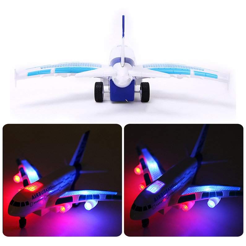NEW Funny A380 Remote Control Aircraft Boys Airbus Toy Airplane Model Colorful Lights Music Electric Airplane Early Educational Toy(White)