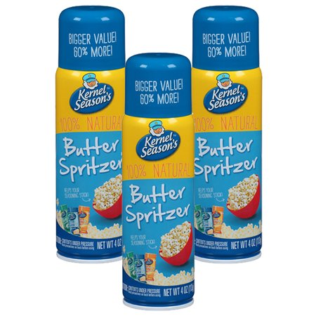 Fat Free Butter Spray - (3 Pack) Kernel Season's 100% Natural Butter Spritzer, 4 oz
