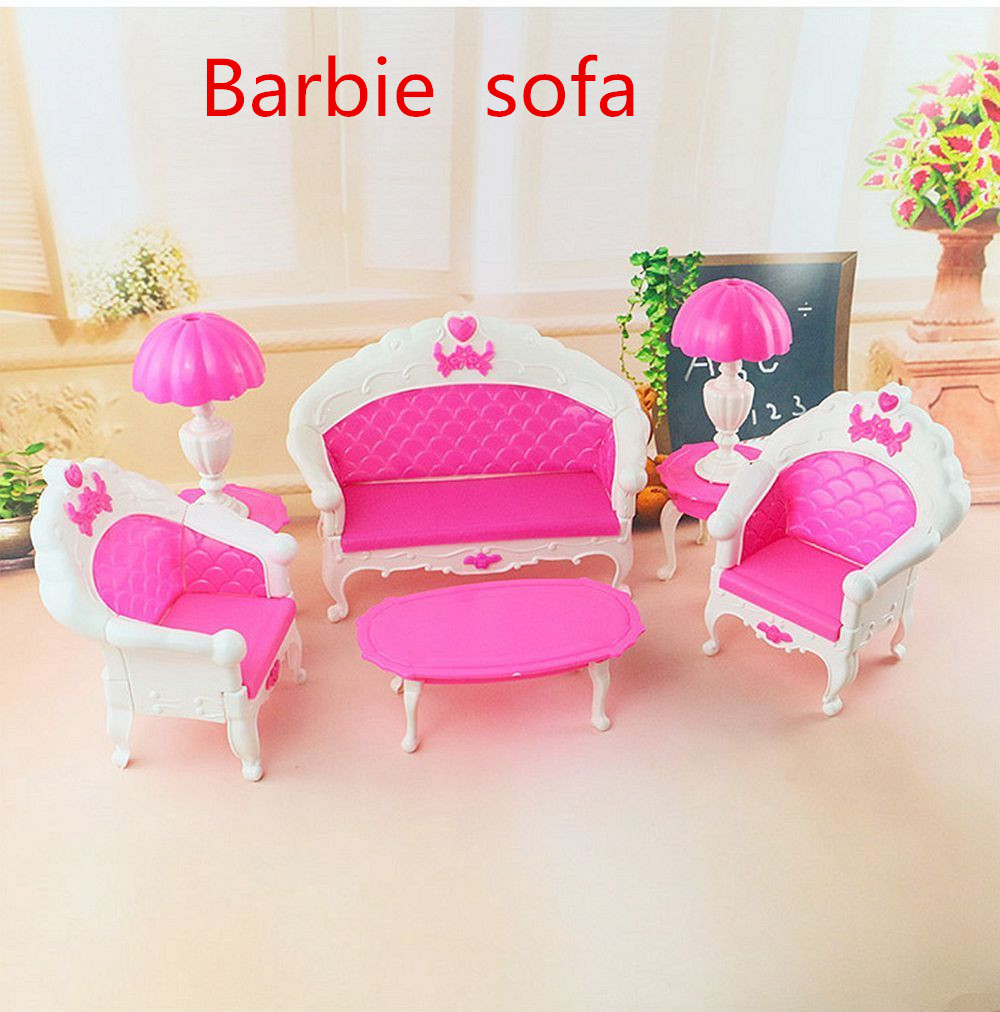 6PCS Pink Mini Living Room Sofa Furniture doll Sets Toy For Dolls Dream House Furniture Accessories Kids Birthday Gift