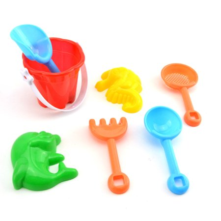 7Pcs/Set Kids Beach Sand Play Toys Simulate Bucket Shovel Rake Dredging Tools Random Style - Bulk Play Sand