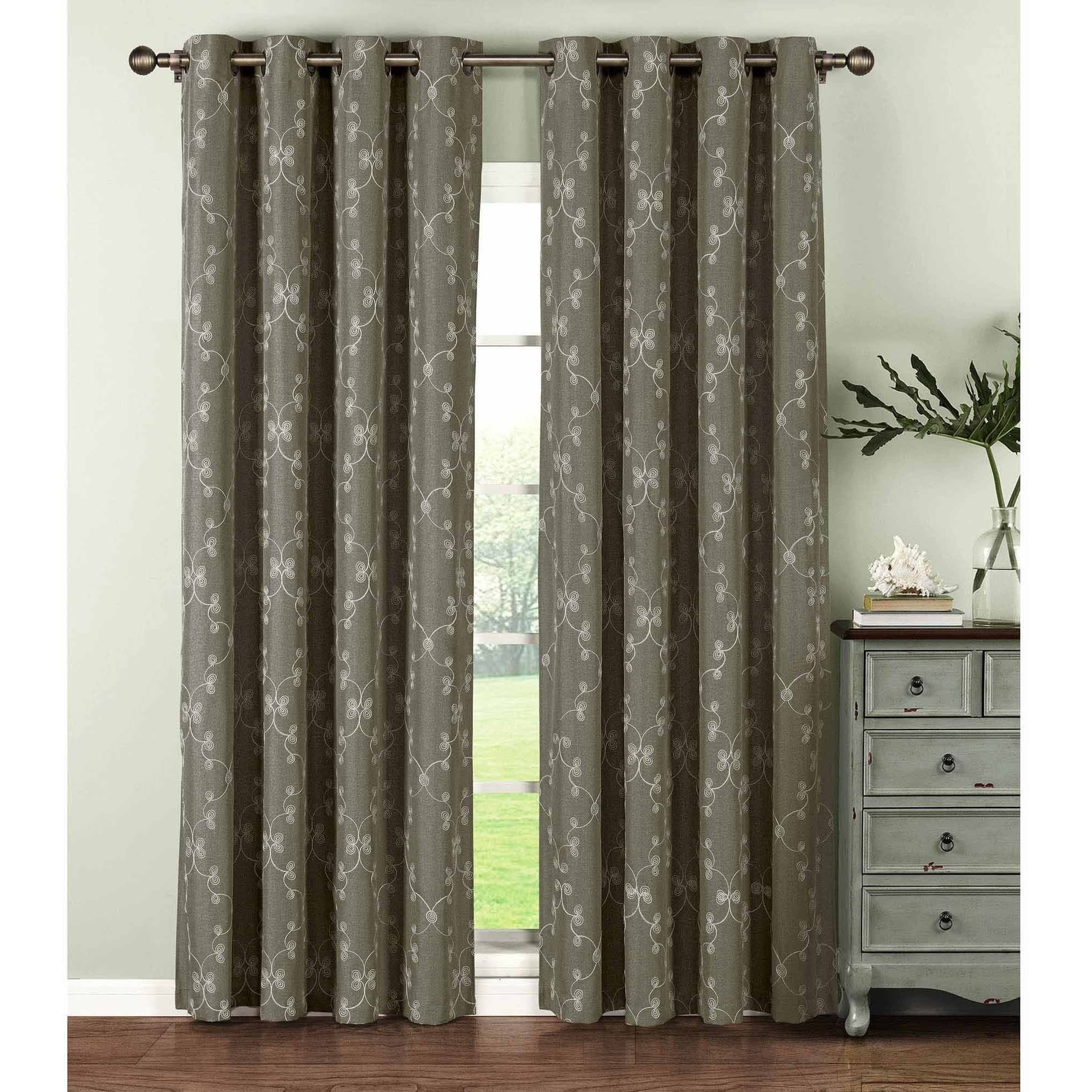 Geo Gate Embroidered Faux Linen Extra Wide Grommet Curtain Panel Pairs