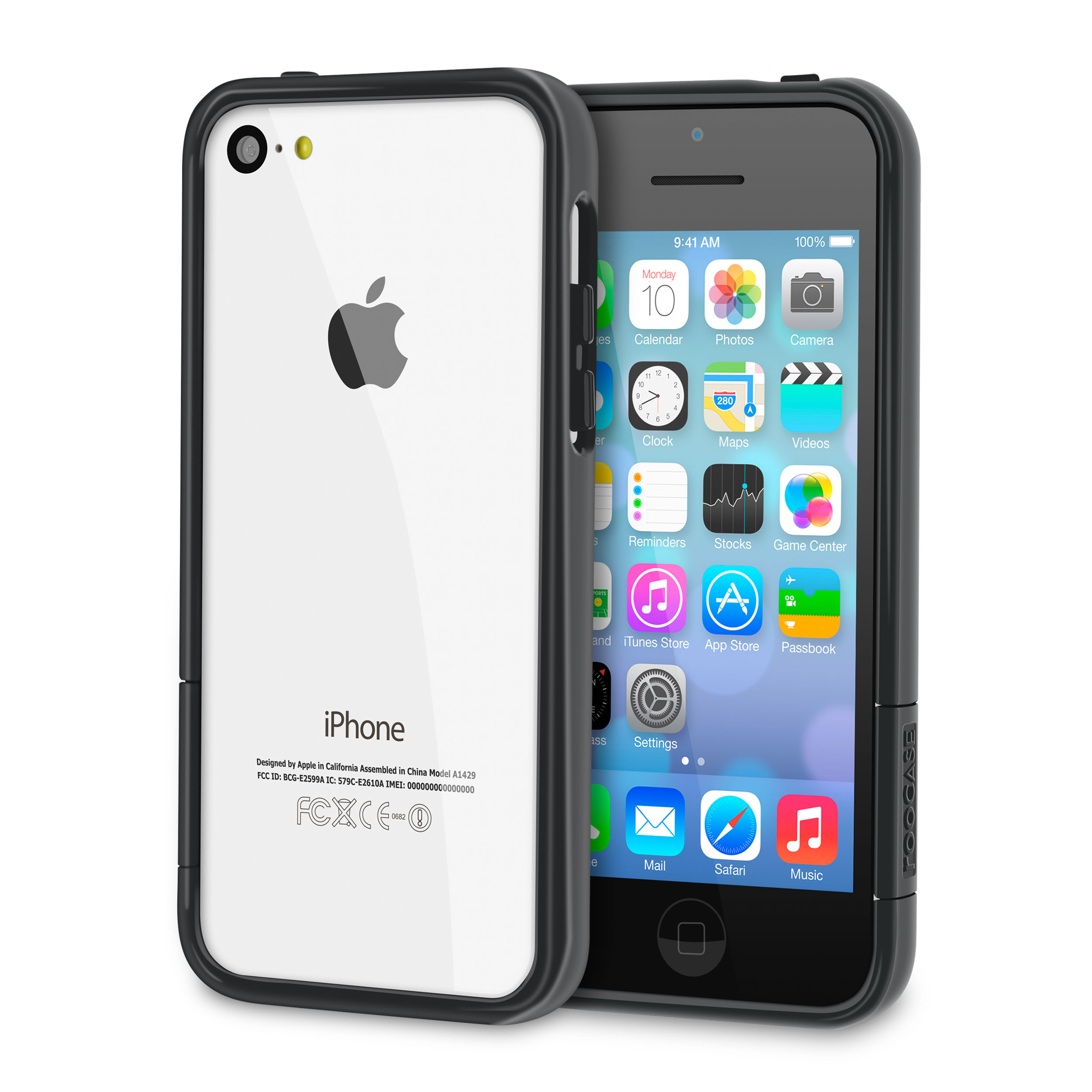 rooCASE Apple iPhone 5C ProGuard Bumper Slim Shell Case, Gloss Black