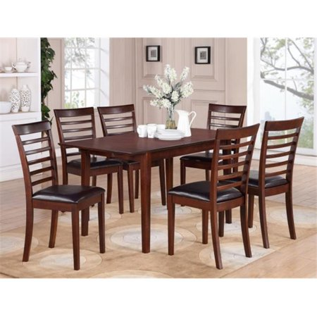 Wooden Imports Furniture PS5-MAH-LC 5PC Picasso Rectangular Table and 4 Faux Leather upholstered Seat Chairs - Mahogany Finish