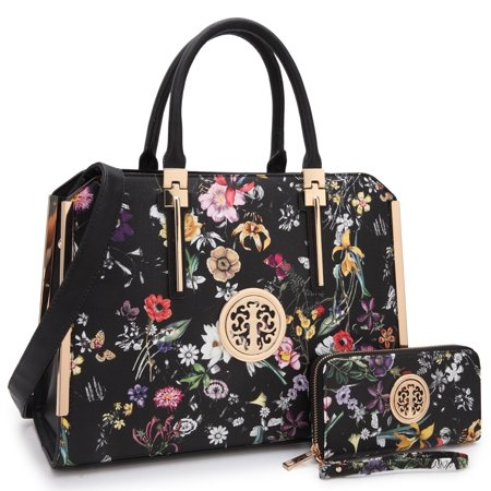 Dasein  Floral Faux Leather Briefcase Satchel Handbag with Matching Wallet ()