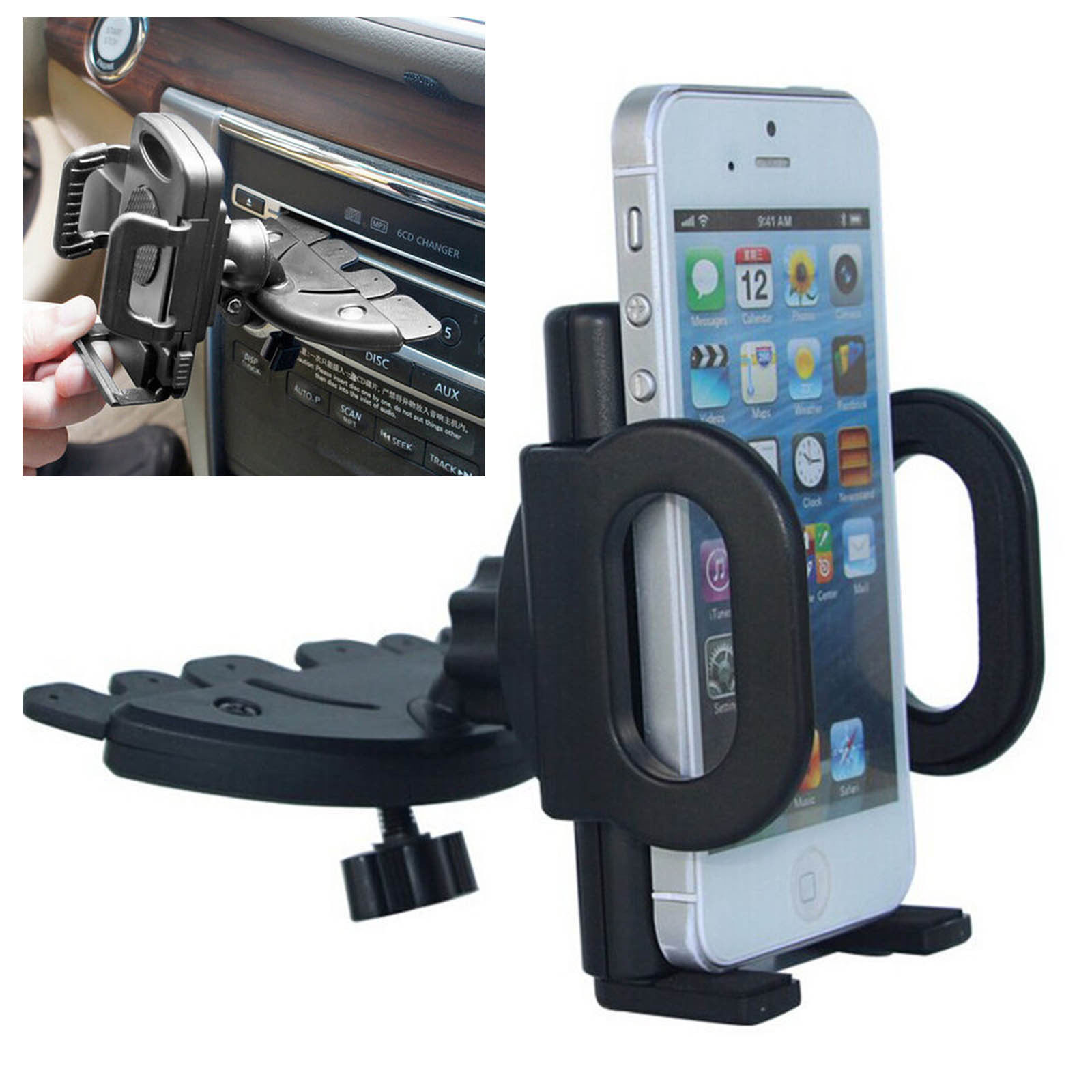 360° Car CD Slot Dash Mount Holder Dock for Cell Phone Smart Phone GPS Universal