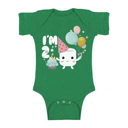 Awkward Styles Second B-Day Gifts Baby One Piece Outfit Marshmallow Gifts for 2 Year Old Baby Bodysuit Short Sleeve Marshmallow Bodysuit Short Sleeve 2nd Birthday Birthday Gifts Cute Baby Girl Clothes](Gift For Two Year Old)