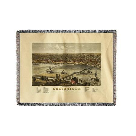 Louisville Blanket - Louisville, Kentucky - (1876) - Panoramic Map (60x80 Woven Chenille Yarn Blanket)