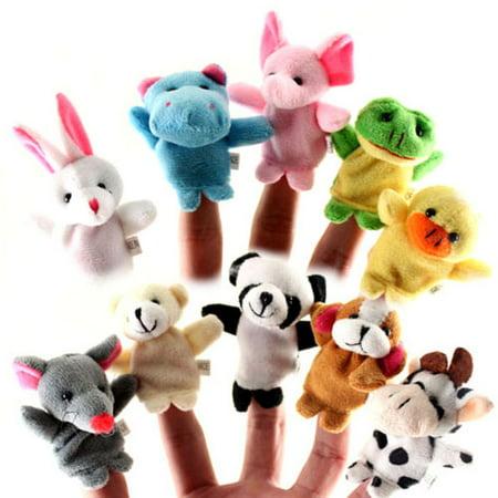 - Soft Plush Animal Finger Puppet Set of 10