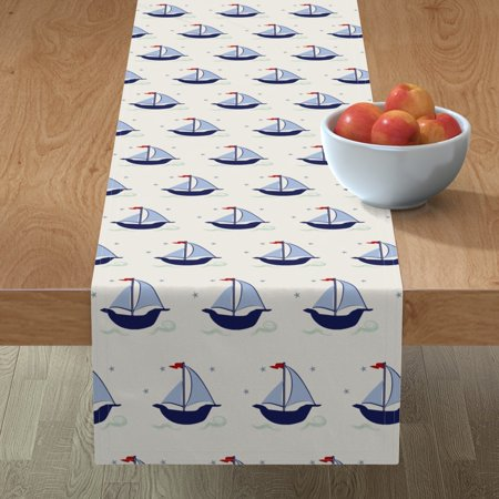 Image of Table Runner Blue Sailboat Boys Nursery Boys Room Sailboats Cotton Sateen