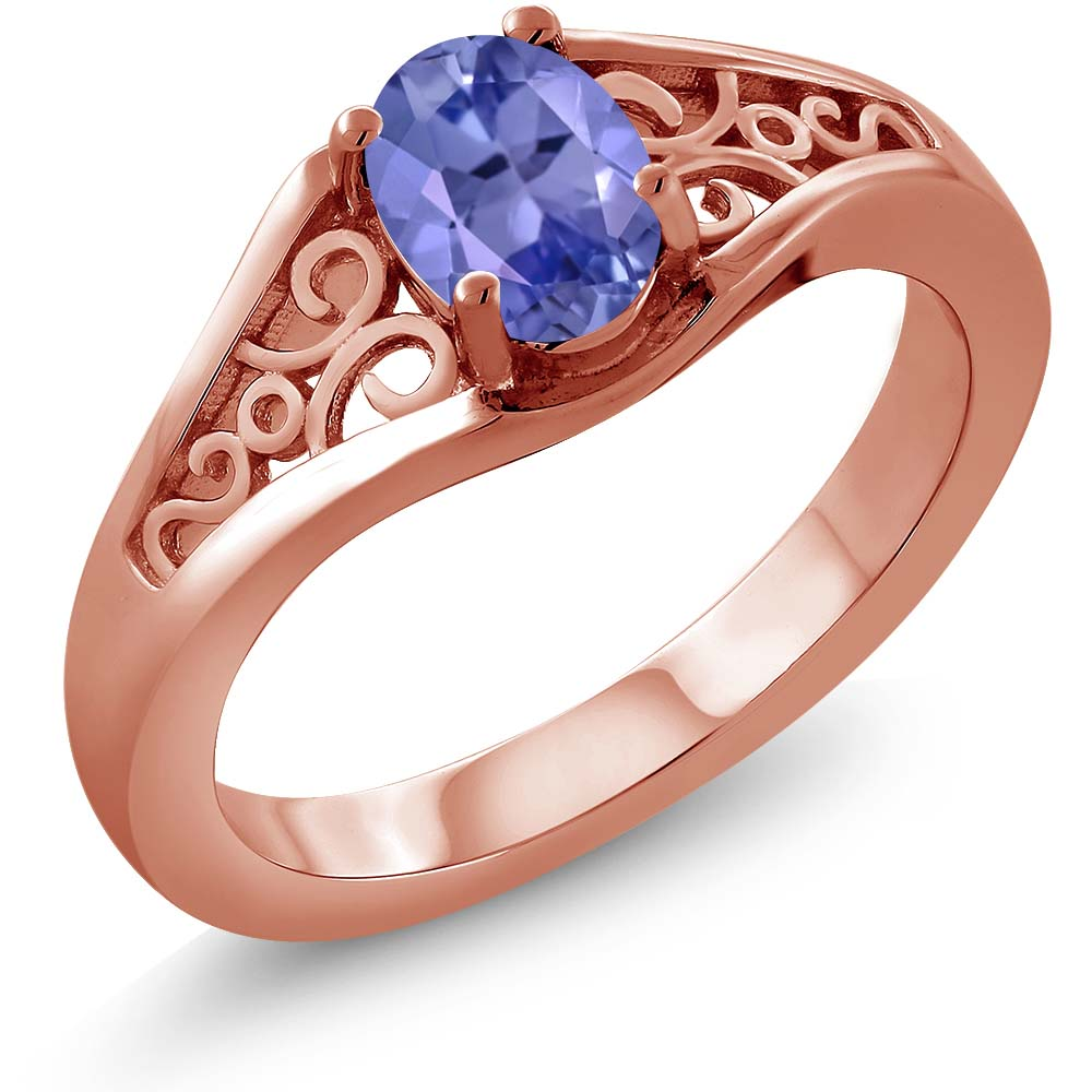 0.75 Ct Oval Blue Tanzanite AAAA 925 Rose Gold Plated Silver Ring by
