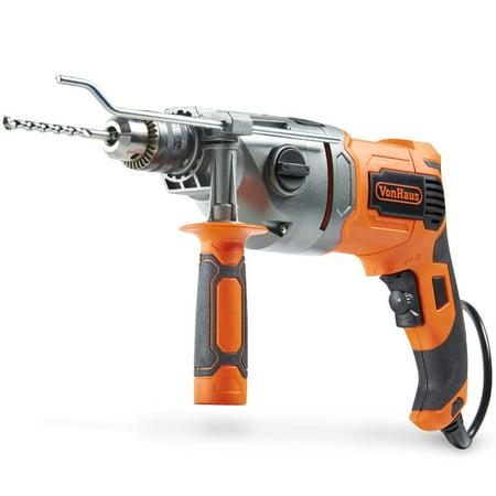 Dewalt 1/2' Vsr Hammer Drill - VonHaus 10 Amp VSR 1/2 Inch Pistol Grip Hammer Drill Kit with 8 Drill Bit Set, Metal Depth Gauge, Lock-On Switch, Power Trigger and Speed Adjustment