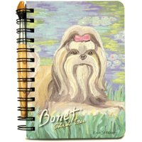 """5"""" x 7"""" Paw Palettes Shih Tzu Dog Spiral Bound Notebook with Paint Brush Pen"""