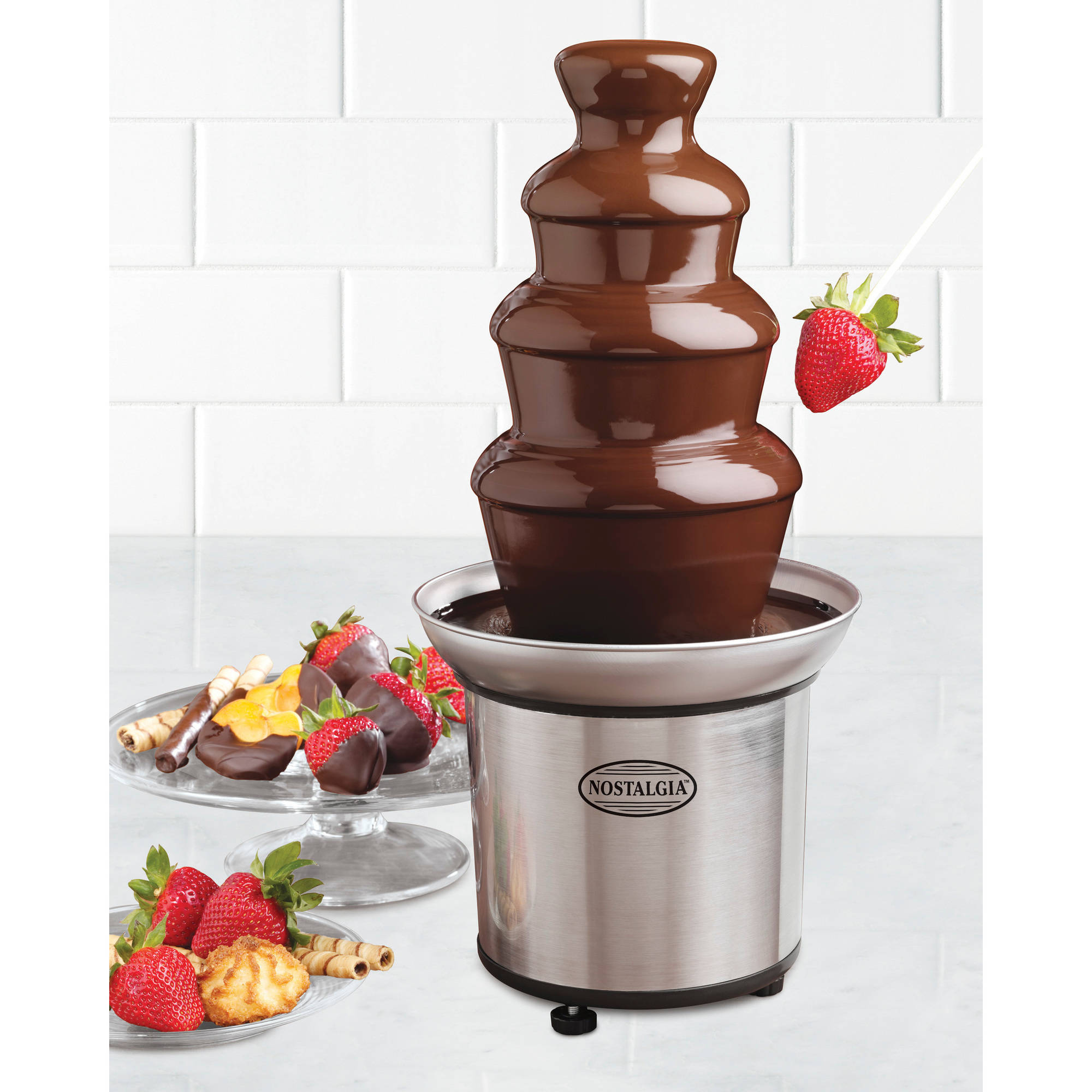 Nostalgia Electrics 3-Tier Stainless Steel Chocolate Fondue Fountain, CFF986