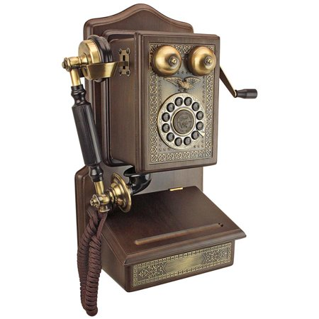 Antique Wall Phone - Country Kitchen Decor 1907 Rotary Wall Telephone -  Corded Retro Phone - Vintage Decorative Telephones