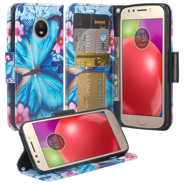 Motorola Moto E4 Case, Slim Flip Folio [Kickstand] Pu Leather Wallet Case Coverwith ID & Card Slots & Pocket + Wrist Strap - Blue Butterfly