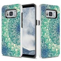 Samsung Galaxy S8 Plus Case, TownShop Hard Rubber Impact Dual Layer Shockproof Case - Teal Mandala