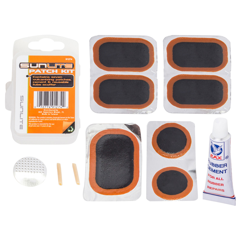 Sunlite Bicycle Tube Patch Kit Small Plastic Case 7 Patches Glue Scuffer Bike