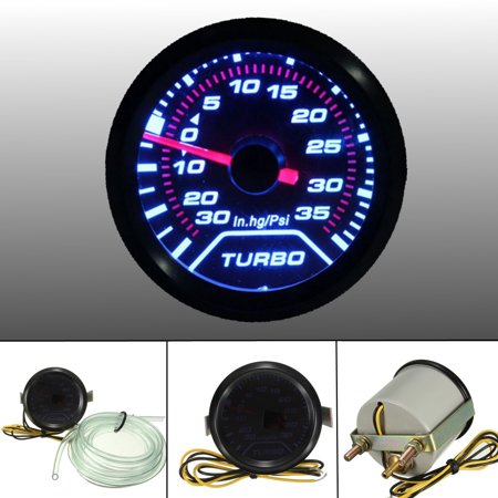52mm 2″ LED Turbo Boost Press Pressure Vacuum Gauge Meter PSI Smoke Face (Displays Turbo Boost)
