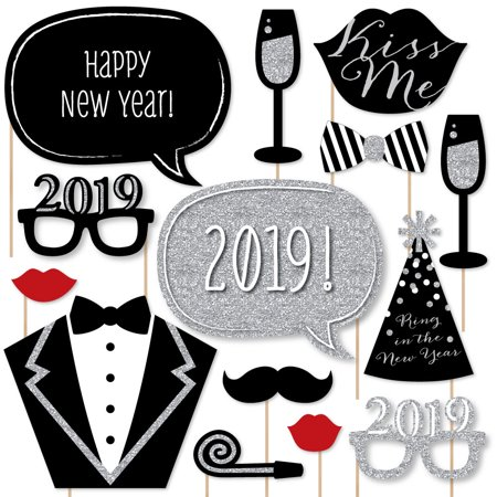 New Years Eve Party - Silver - 2019 New Year Party Decorations Photo Booth Props Kit - 20 Count - New Year Party Decorations